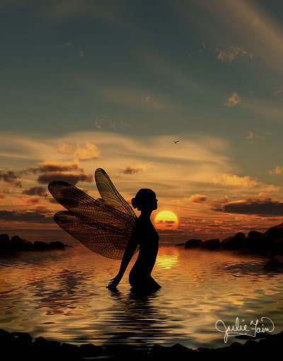 [Fairy in Water at Beach at Sunset]